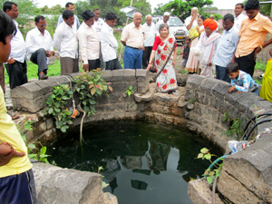 Photo of Ground water level at Surodi Village after Watershed Development Project